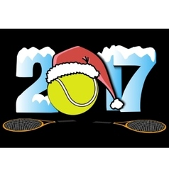 New Year numbers 2017 and tennis ball vector