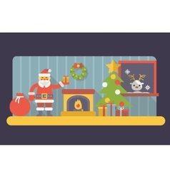 New Year Room Santa Claus with Gift Box and Bag vector image