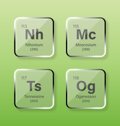 Nihonium Moscovium Tennessine and Oganesson vector image
