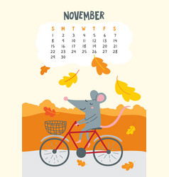 November calendar page with cute rat riding vector