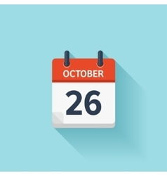 October 26 flat daily calendar icon Date vector image