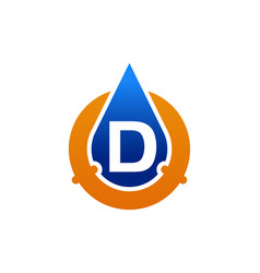 Oil water pipe solutions letter d vector