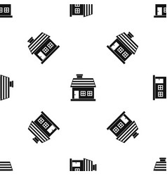 one-storey house pattern seamless black vector image