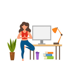 Online fitness yoga classes concept stay vector