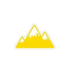 paper sticker Canadian mountain on white vector image