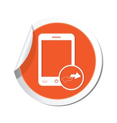 Phone errows icon orange sticker vector