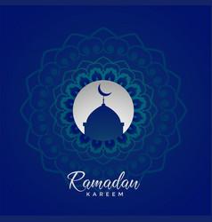 Ramadan kareem islamic card design with mandala vector