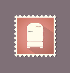 retro style refrigerator flat stamp with shadow vector image