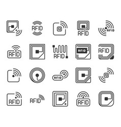 rfid icons radio-frequency identification label vector image