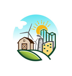 rural landscape view farm barn vector image