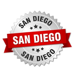 San diego round silver badge with red ribbon vector