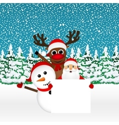 Santa Claus with snowman and reindeer peeking vector