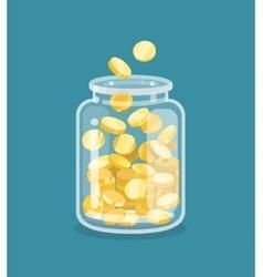 Saving flat money jar vector image