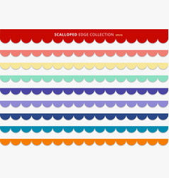 Set colorful scallops stripes seamless repeat vector