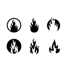 set fire flame silhoutte logo vector image