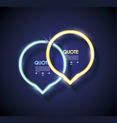 set neon chat bubbles or quote frames lighting vector image