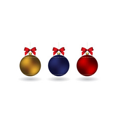 Set of 3 christmass balls with ribbon hanging on a vector