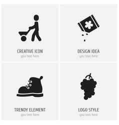 set of 4 editable agriculture icons includes vector image