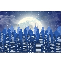 Silhouette of the city with cloudy night sky vector image