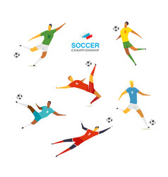 Soccer players set vector