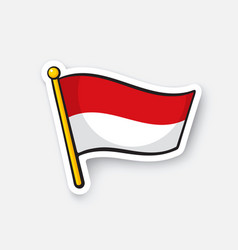 Sticker flag indonesia on flagstaff vector
