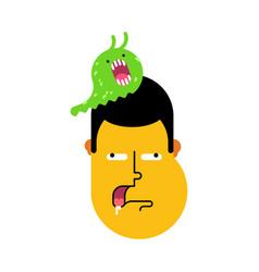 Stupid face slug on head was eating brains silly vector