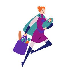 Super woman running with baby in hand and bag vector