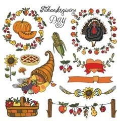 Thanksgiving day decorColorful Doodle set vector