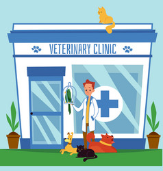the exterior veterinary clinic with the vector image