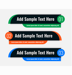 Three colors lower third banners in dark theme vector