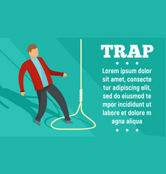 Trap concept banner flat style vector