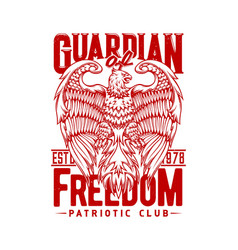 tshirt print with eagle mascot for patriotic club vector image