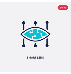 Two color smart lens icon from artificial vector