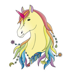 unicorn colorful print vector image