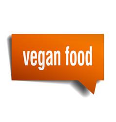 Vegan food orange 3d speech bubble vector