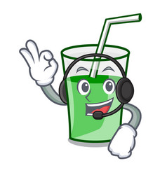with headphone green smoothie mascot cartoon vector image