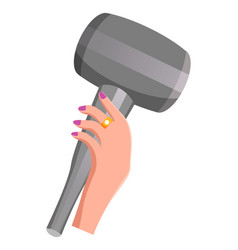 woman hand holds compact blow dryer hair care vector image