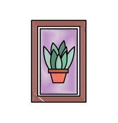 wooden frame with houseplant in vase decoration vector image