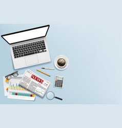workplace office table with laptop documents vector image