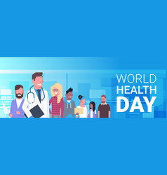 World health day banner with medical doctor over vector