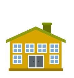 Yellow two-storey house icon vector