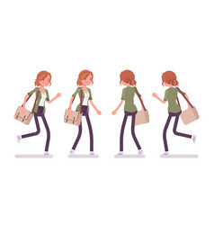 Young red-haired woman walking and running vector