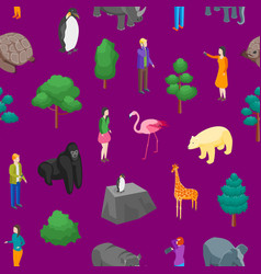 zoo seamless pattern background 3d isometric view vector image