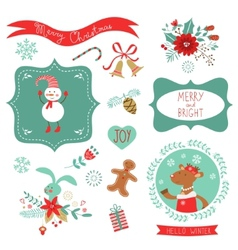Christmas cute graphic elements vector image vector image