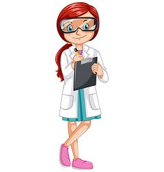 Female scientist recording experiment vector image vector image