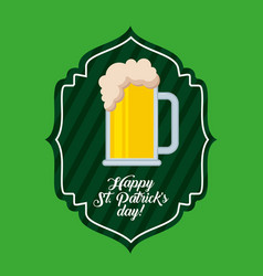 happy st patricks day green label cold beer drink vector image