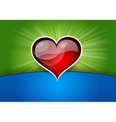 heart background blue green red vector image