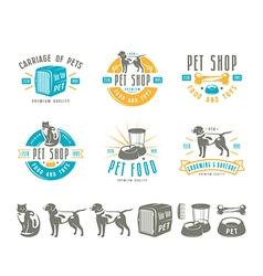 Set of pet care labels badges and design elements vector image vector image