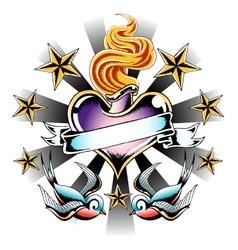 swallow fire heart emblem vector image vector image