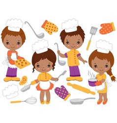 African American Little Chefs Set vector image